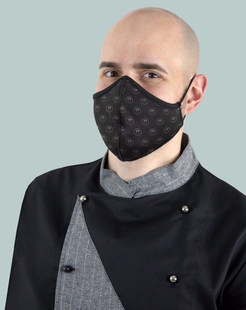 Camice da chef nero e grigio con mascherina lavabile PF2-PO9 con pattern